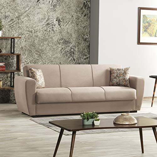Evok Dolce Fabric Sofa Bed 3 Seater with Storage Brown