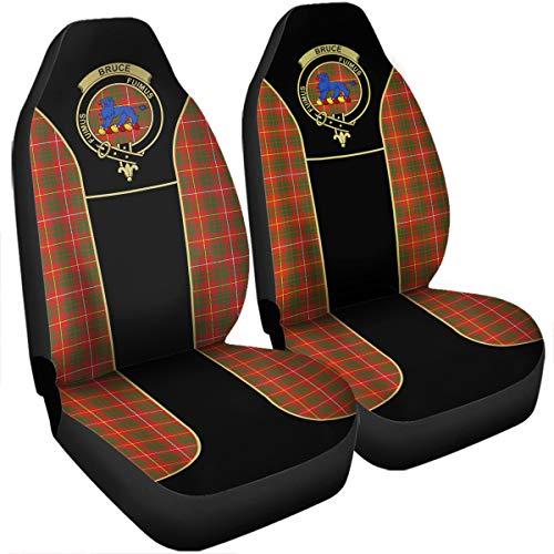 Scottish Tartan Bruce Clan Crest Badge Car Seat Covers - Set of 2 - Universal Fit ()