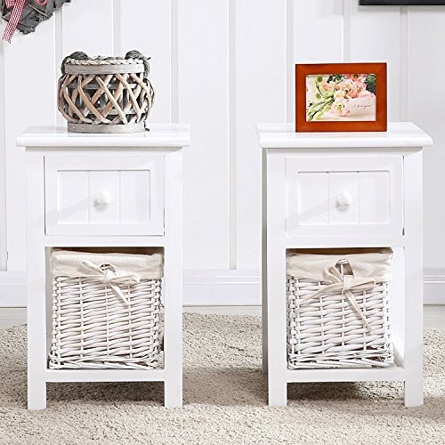 Eight24hours Set of 2 White Chic Nightstand End Side Bedside Table w/Wicker Storage Wood + FREE E-Book