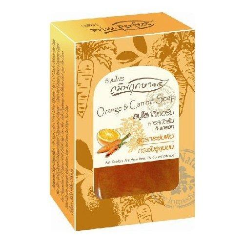 Price comparison product image Poompuksa 15 : Orange & Carrot Glycerin Clear Soap Bar Anti Oxidant,  Anti Acne pore,  Oil Control Balance 2.82Oz...