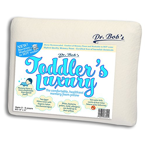 (Toddler's Luxury - Kids Bed Pillow by Dr. Bob's- New - Memory Foam Machine Washable in HOT Water. Sanitize Your Pillows - Organic Cotton Cover - 2 Sizes - Also Children's Luxury Pillow)