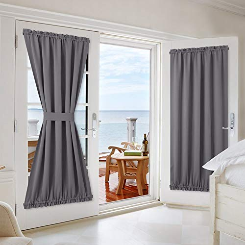 NICETOWN Grey French Door Curtains