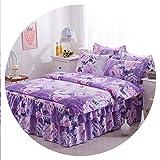 Floral Print Bedding Bedclothes Queen King Size Duvet Cover Bed Set bedcover bedskirt Pillowcase Bedding Sets,Bedding Set 4,2Pcs Pillowcases