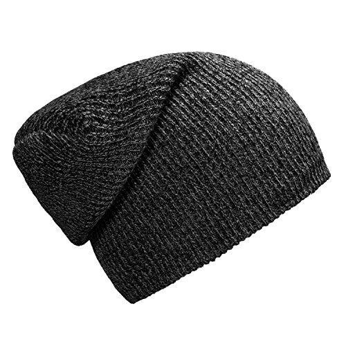 hombres beanie clásico para mujereso y de diseño Gris moderno gorro DonDon slouch invierno Negro qUHwIw8