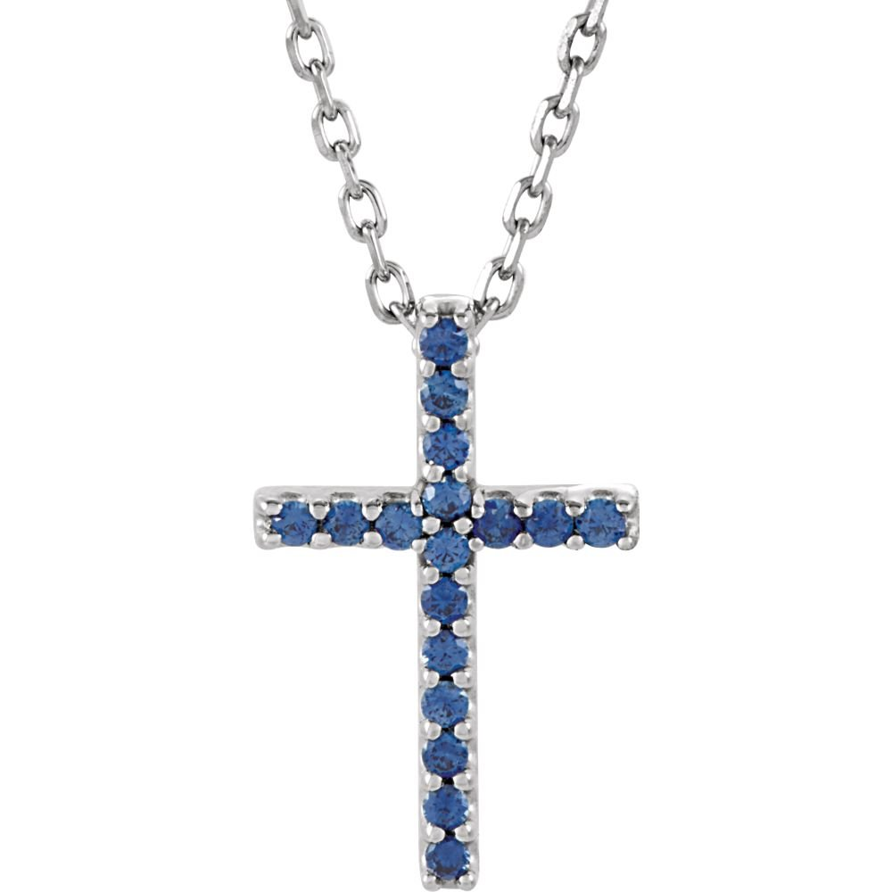 Jewels By Lux 14k White Gold Blue Sapphire Cross Pendant