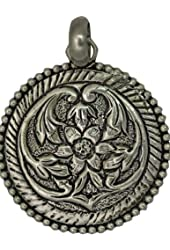 Sterling Pendant Engraved with Flowers - Sterling Silver