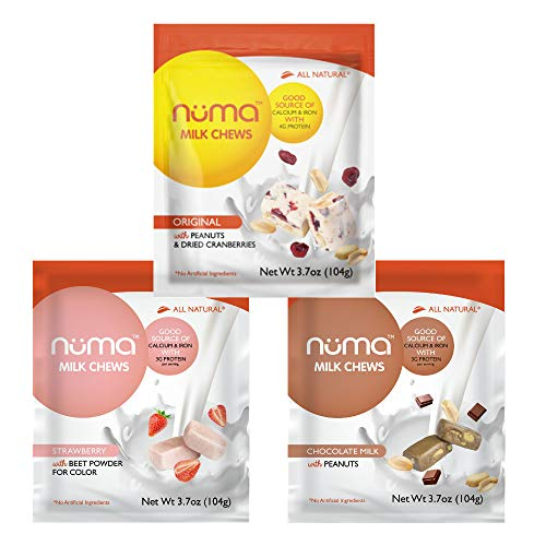 (Healthy Nougat Snacks Variety Pack, Low Calorie, Low Sugar, All-Natural, Chewy, Creamy, Gluten Free, 4g Protein, 3 Bags of 8 individually wrapped chews each of Creme, Chocolate Milk and)