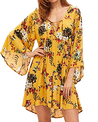 Printed Cross Front Dress - Kidsform Women Boho Mini Dress Front Cross Floral Printed Deep V-Neck Loose Flowy Party Beach Short Dress Yellow S