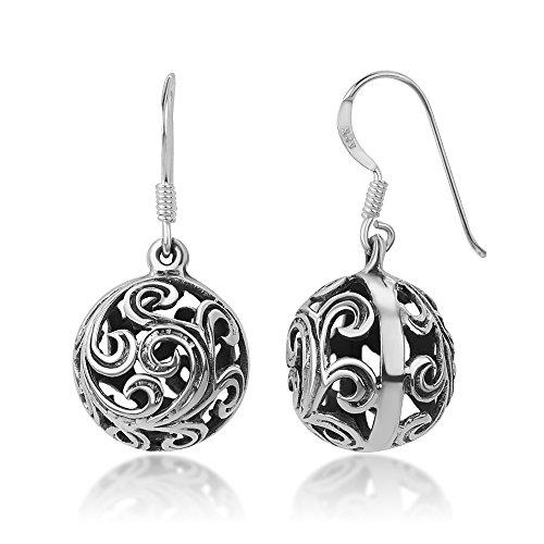 - 925 Sterling Silver Bali Inspired Open Detailed Filigree Puffed Ball Dangle Hook Earrings 0.8