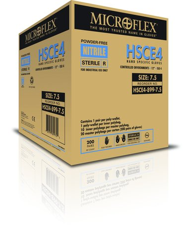 Microflex HSCE4-899-8.0 White Nitrile Hand Specific Gloves 12 Thomas Scientific Sterile Pack of 200 Pack of 200 8.0 Size 12