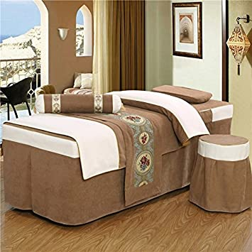 Luxury Massage Table Sheet Set, 4 Pieces (brown, Custom Size)