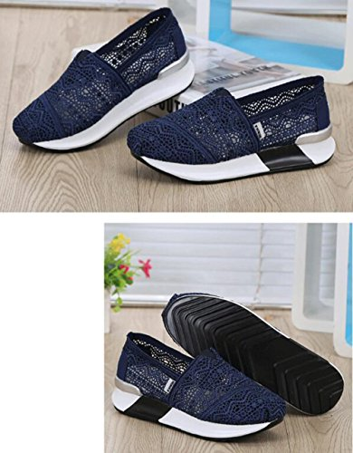 Walking Blue Shoe Women's Sneaker Dark DADAWEN Crochet on Toning Classic Slip w1nZAv0x