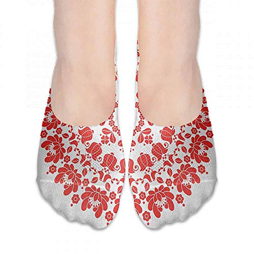 (socks free size Red Mandala,Hungarian Round Folk Art Pattern Tulips Traditional Kalocsai Old Fashioned, Red and White,socks for flats)