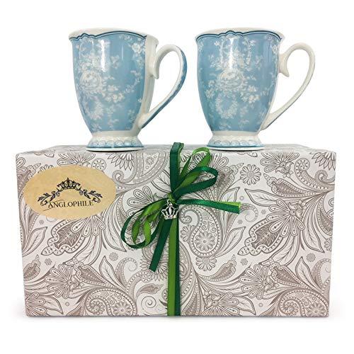 Bone China Mug Set Of Two In Gift Box (Blue Toile)