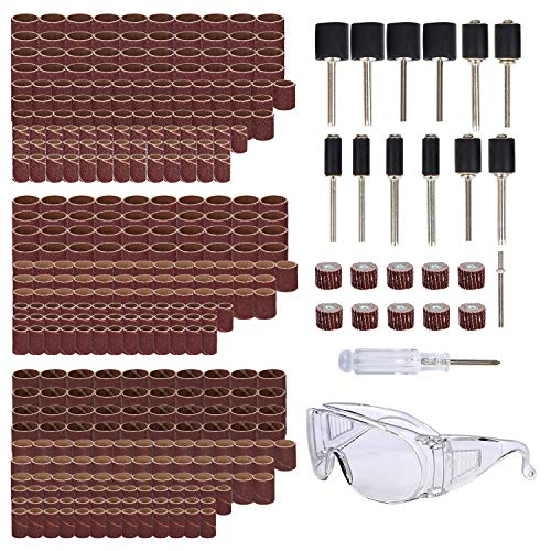 Tonsiki 385 Pieces Sanding Drum Kit, Including 360PCS Sanding Sleeves, 12PCS Drum Mandrels, 10PCS Flap Sanding Wheel, 1PCS Flap Sanding Arbor, 1PCS Screwdriver, 1PCS Safety Glasses for Rotary Tool