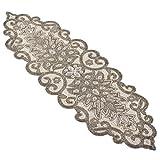 SARO LIFESTYLE Beaded Scroll Motif Design Table Runner, 12'' x 38'', Silver