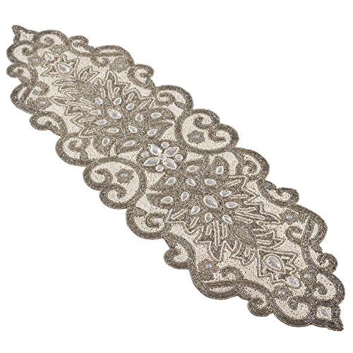 SARO LIFESTYLE Beaded Scroll Motif Design Table Runner, 12'' x 38'', Silver by SARO LIFESTYLE