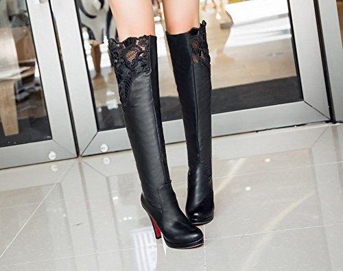 Mee Shoes Damen high heels Runde mit Lace Plateau langschaft Stiefel Schwarz