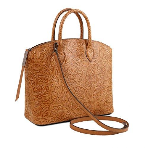 Tuscany Leather Gaia Borsa shopper in pelle stampa floreale Grigio Cognac