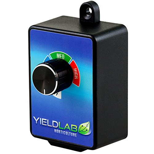 Yield Lab In-Wall Variable Fan 3 Speed Controller for Grow Tent and HVAC Intake and Exhaust Duct Fan Ventilation (Line Fan Hydroponics Blower)