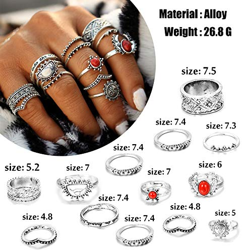 FIBO STEEL 42-63 Pcs Vintage Knuckle Rings for Women Girls Stackable Midi Finger Ring Set (A1: 42 Pcs a Set) by FIBO STEEL (Image #2)