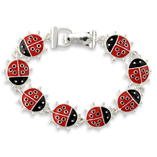 Fun Ladybug Red Black Enamel Magnetic Fold Over Clasp Bracelet