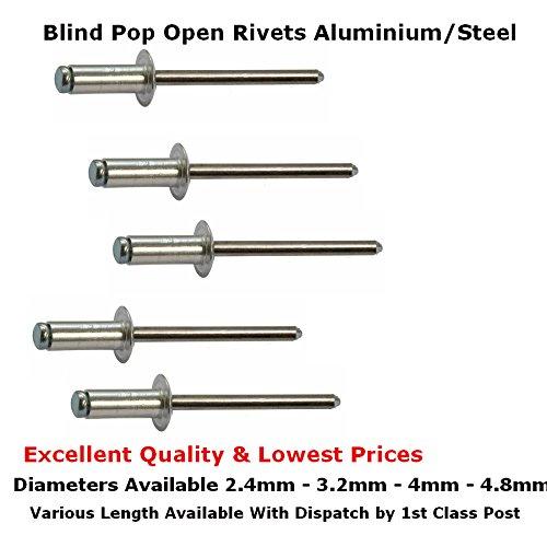4 mm 3,2 mm PENTECH MOULDING CO LTD Pentech/® 15977 4,8 mm Remaches de aluminio con cabeza de c/úpula de acero inoxidable 2,4 mm