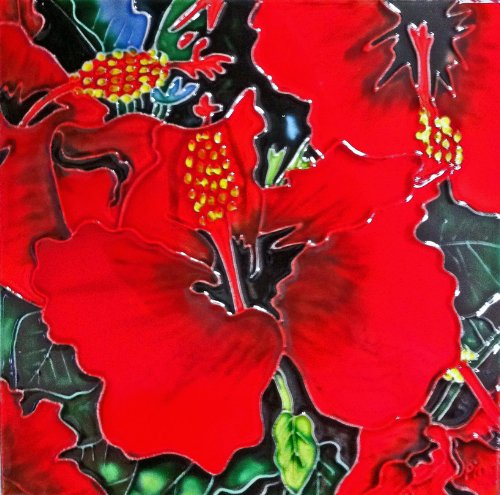 Continental Art Center BD-0396 8 by 8-Inch Red Hibiscus Flower with Green Leaves Ceramic Art Tile
