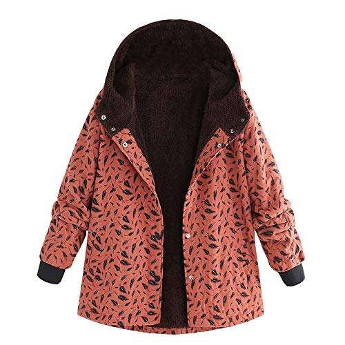 Limsea Womens Oversize Coats Winter Warm Outwear Leaf Print Hooded Pockets Vintage1 XX-Large -