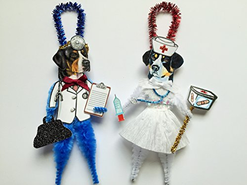 Mountain Ornaments Dog (Greater Swiss Mountain Dog DOCTOR & NURSE ORNAMENTS Vintage Style Chenille Ornaments Set of 2)