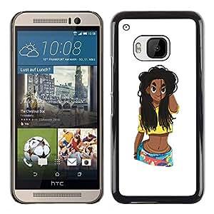 FlareStar Colour Printing Black Puerto Rican Girl Woman Chick cáscara Funda Case Caso de plástico para HTC One M9