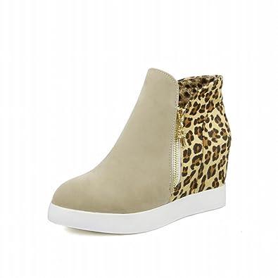 cf3d5047b851d Carolbar Women s Fashion Sexy Multi Zipper Leopard Pattern Assorted Colors  Wedge Heel Dress Boots (4.5