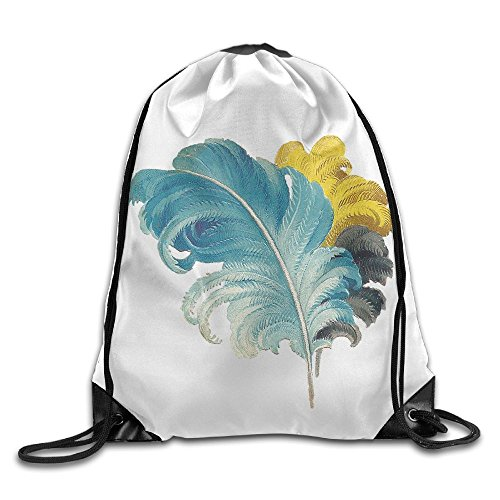 Jingclor Unisex Drawstring Backpack Beautiful Feather Art Lovers Portable Shoe Bags Travel Sport Gym Bag Yoga Runner Daypack