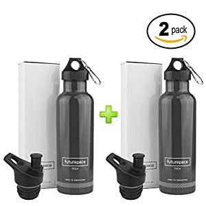 DARK GREY, STAINLESS STEEL INSULATED - 2 WATER BOTTLE GIFT SET - 25oz BPA FREE by Futurepace Tech, BONUS SPORTS LID - On Hand for Easy Gift Giving! Perfect for Men, Women