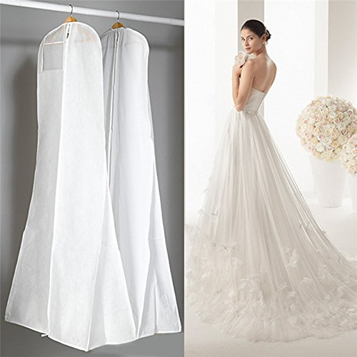 LUCKYCYC Hanging Wedding Dress Bridal Gown Garment Cover Storage Bag Carry Zip Dustproof White
