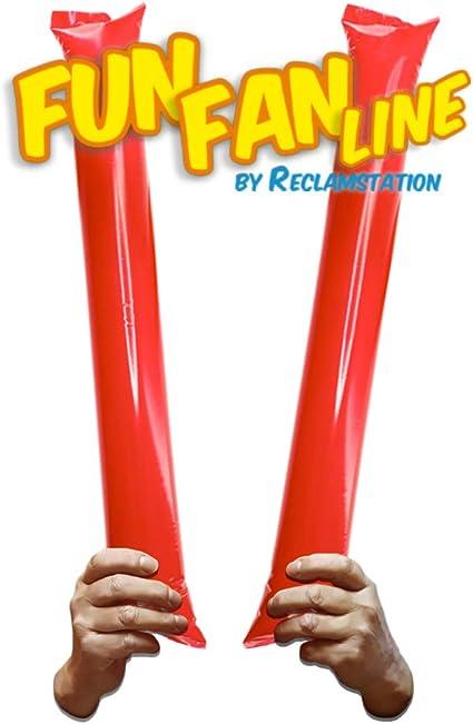 FUN FAN LINE - Pack 10 Pares de Aplaudidores hinchables de plástico. Accesorios ruidosos para Fiestas y animación Deportiva. Palos de Estadio Reutilizables. (Rojo, 10)