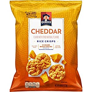 Quaker Rice Crisps, Cheddar Cheese, 6.06 oz Bags, 6 Count