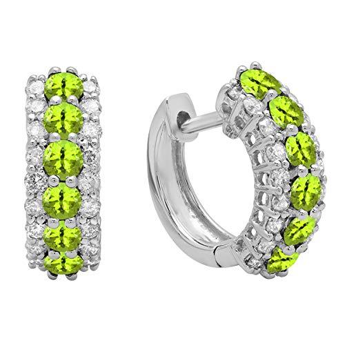 Dazzlingrock Collection 14K Round Peridot & White Diamond Ladies Huggies Hoop Earrings, White Gold