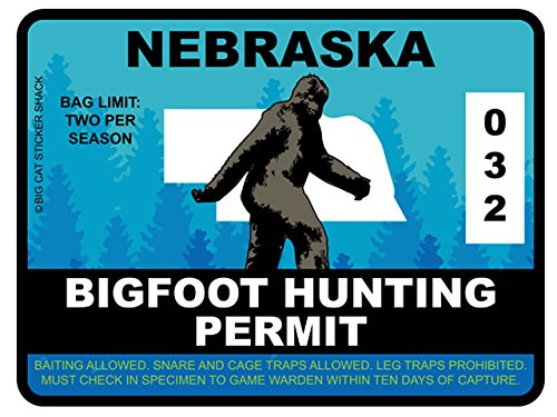 Bigfoot Hunting Permit - NEBRASKA (Bumper Sticker)