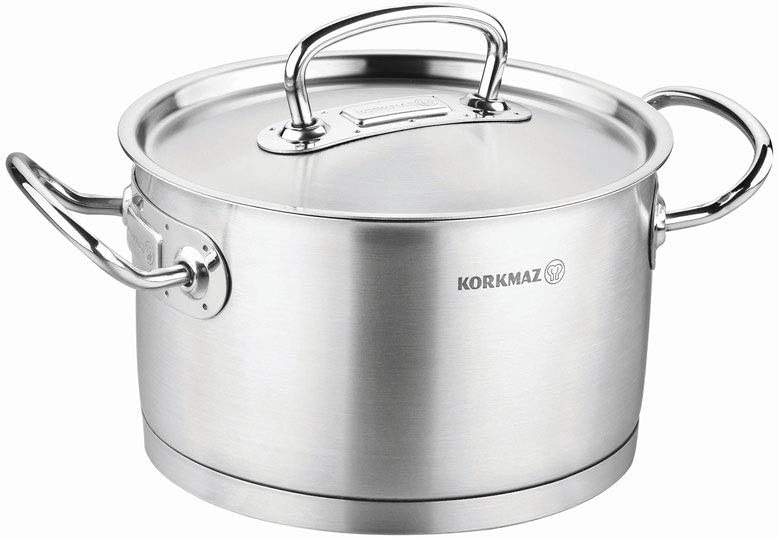 korkmaz Proline 4 Quart Stainless Steel Stockpot with High Profile Lid and Handles, Silver a1161