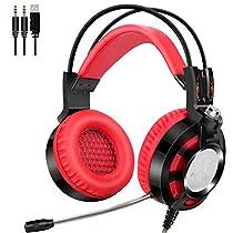 ゲーミングヘッドセット PCゲーム用ヘッドホン 有線3.5mm +USB ステレオ 騒音隔離 高集音性マイク 調整可能 音量調節機能付き 眩いLEDライ付き (レッド)