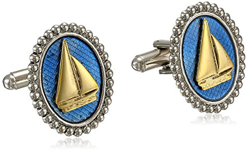 1928 Jewelry Unisex Gold and Silver-Tone Blue Enamel Oval Sail Boat Cuff Links ()