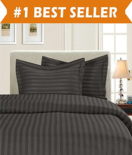 Elegant Comfort Luxury 2-Piece Stripe Duvet Cover Set 1500 Thread Count Egyptian Quality Silky Soft, Twin/Twin XL, Grey