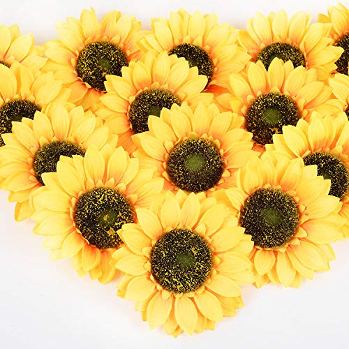DearHouse 12 Pcs Artificial Silk Sunflower Heads, Fake Sunflower 6.2