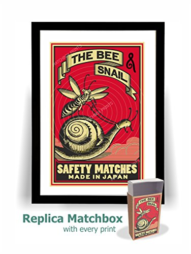 Bee and Snail Japanese Matchbox Print