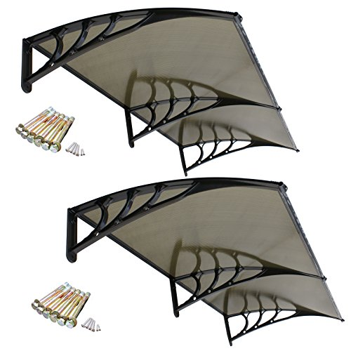 Super Deal 2PCS 40''x 80'' Overhead Door Window Outdoor Awning Door Canopy Patio Cover Modern Polycarbonate Rain Snow Protection (2PCS Yellow) by Super Deal