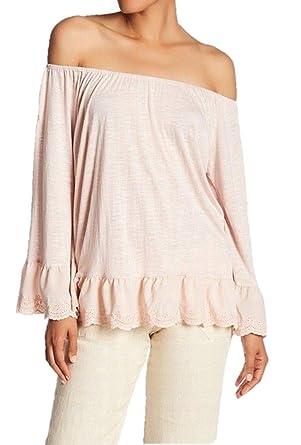 d7573b89933 Image Unavailable. Image not available for. Color  Sanctuary Juliette Linen  Off The Shoulder Top Pink