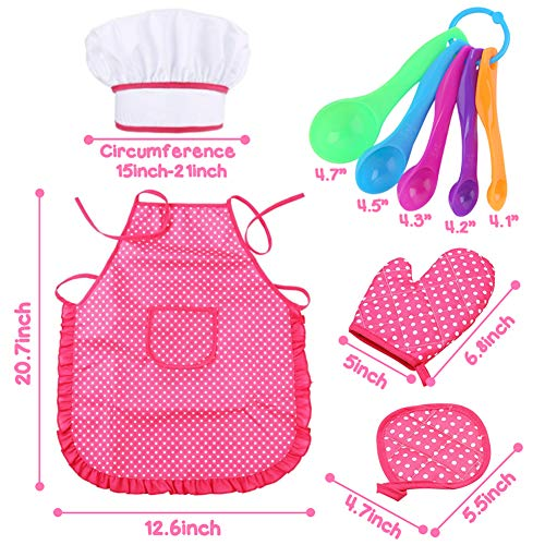 3 otters 27pcs Kids Chef Role Play Costume Set, Kids Apron Set Toddler Cooking and Baking Set, for Dress Up Chef Costume Career Role Play