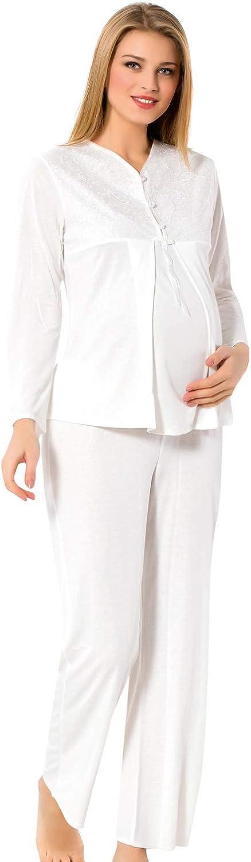 Pyjama//Schlafanzug lang f/ür Schwangerschaft und Stillzeit Roseanne Damen Stillpyjama Stillkleidung f/ür die Nacht Edles Nachthemd zum Stillen
