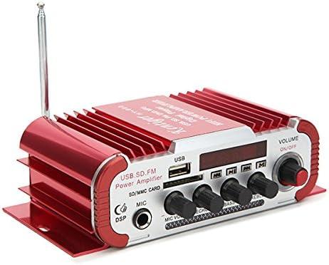 YONGYAO Kentiger Hy600 12V Coche Rojo Y Motocicleta Doble Canal Amplificador Universal con Micrófono